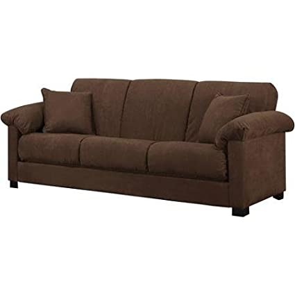 Amazon.com: Montero Microfiber Convert-A-Couch Sofa Bed, Dark Brown ...