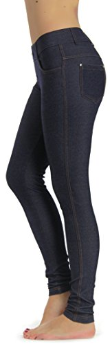 Prolific Health Women's Jean Look Jeggings Tights Yoga Many Colors Spandex Leggings Pants S-XXL (Small, Navy ()