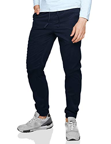 Match Men's Loose Fit Chino Washed Jogger Pant (34W x 32L, 6025 Blue)