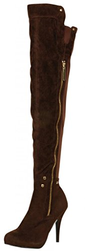 STYLUXE Women's Taichi Faux Suede/Lycra Brown Over the Knee High Heel Boots,Size 8.5 B(M)US