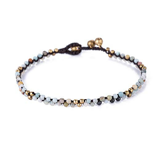 Infinityee888 Anklet Jasper Stone Ankle Bracelet 10 Inches Woven with Leather Cord Beautiful Handmade Hippie Bohemian Unisex Gift Anklet for Men Anklet for Women and Teenage