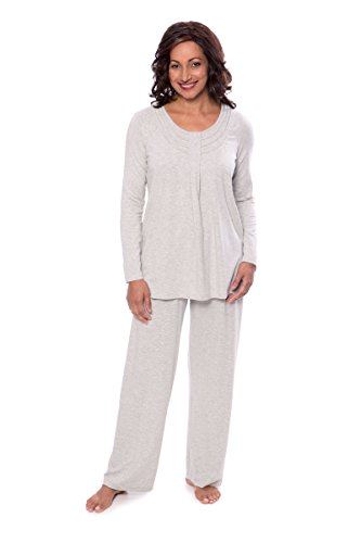 Women's Long Sleeve PJs in Bamboo Viscose (Replenish, Heather Platinum, 2X/Petite) Best Valentines Gift for Wife Girlfriend WB0006-2G2-2XP