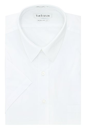 Mens Solid White Dress (Van Heusen Men's Short Sleeve Poplin Solid Dress Shirt, White, 17.5