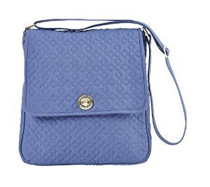 Heritage Blue Microfiber Quilted Cotton Saddle Crossbody Bag with Strap and Slip Pockets 12 x 11 x 3 (Bella Bag)