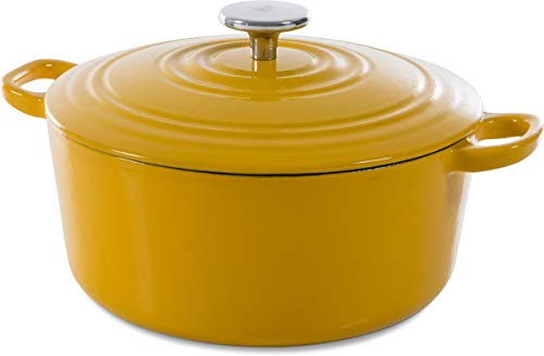 (BK H6075.528 Nature Cast Iron Pan, 7QT, Yellow)