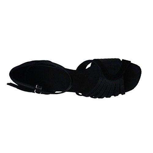 Jig Foo Sandalen offene Latin Salsa Tango Ballroom Dance Schuhe für Frauen mit 8,9cm Ferse schwarz