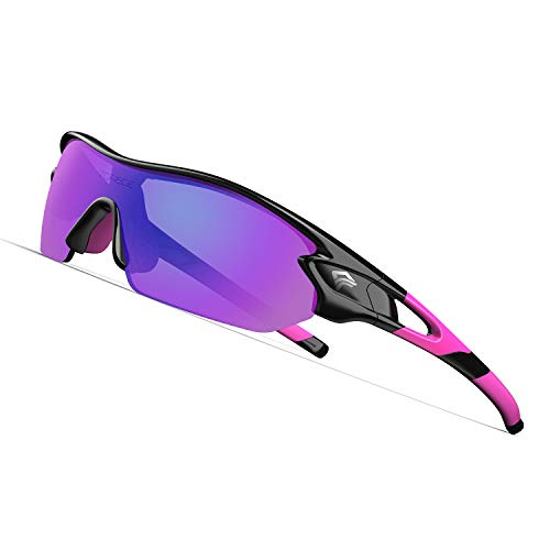 TOREGE Polarized Sports Sunglasses with 3 Interchangeable Lenes for Men Women Cycling Running Driving Fishing Golf Baseball Glasses TR02 (Black&Pink&Pink ()