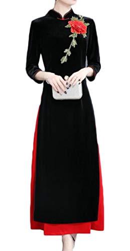 Advance Vintage Robe - Pandapang Women's Smocked Vintage Velour Long Sleeve Qipao Chinese Dress Long Robe Cheongsam Black XXS