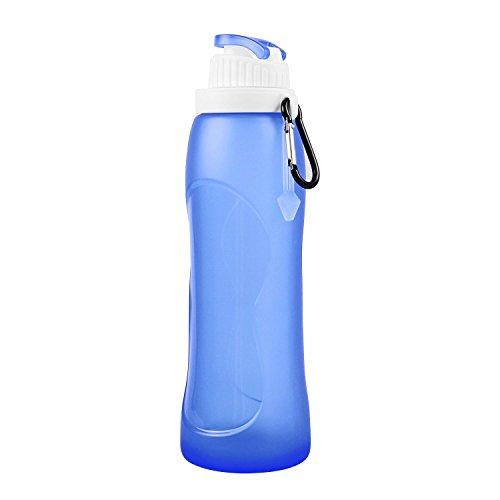 Homeself 500ML BPA frei Silikon-faltende Sport Wasserflasche, zusammenklappbare Travel Trinkflasche mit Karabinerhaken für Outdoor Camping Wandern Picnics Wandern Joggers Reiten oder Fahren Rennen (Blau)