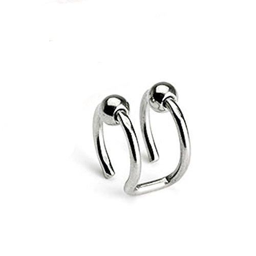18GA Double Closure Ball Non-Piercing Cartilage Clip-On 316L Surgical Stainless Steel (Steel (Steel Ball Closure Ring)