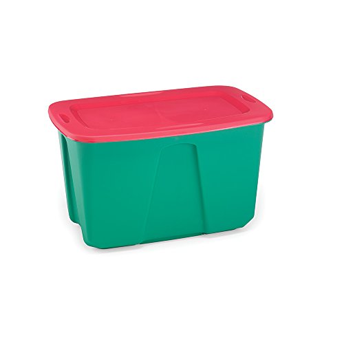 Homz Holiday Plastic Storage Tote Box, 32 Gallon, Greed With Red Lid,  Stackable, 6 Pack