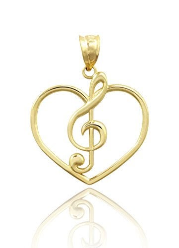 Honolulu Jewelry Company 14K Yellow Gold Heart and Treble Clef Necklace Pendant 14k Gold Treble Clef Note