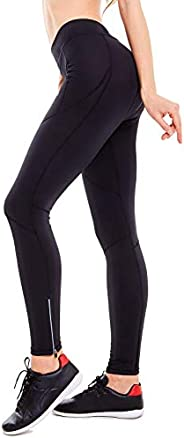 BALEAF Women's 3D Padded Cycling Tights Long Bike Pants Compression Leggings with Wide Waist