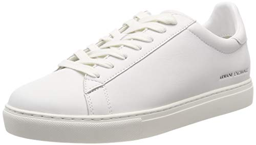 A|X Armani Exchange Men's Low Rise Leather Lace Up Sneaker, White, 9 M -