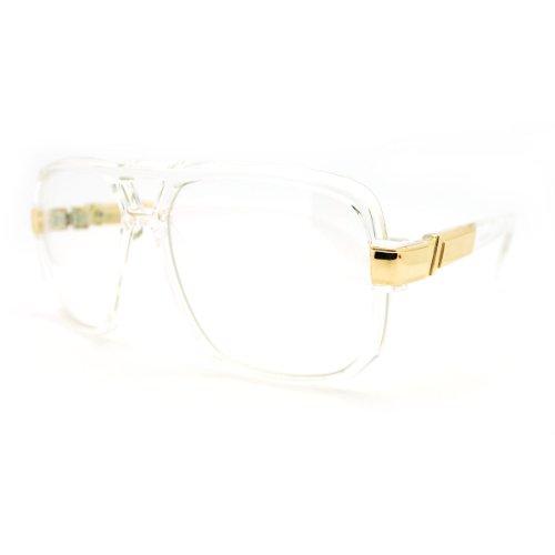 0ad34e092dc1 Geeky Oversized Run DMC Gazelle Eye Glasses Sunglasses - Clear Gold - Buy  Online in UAE.