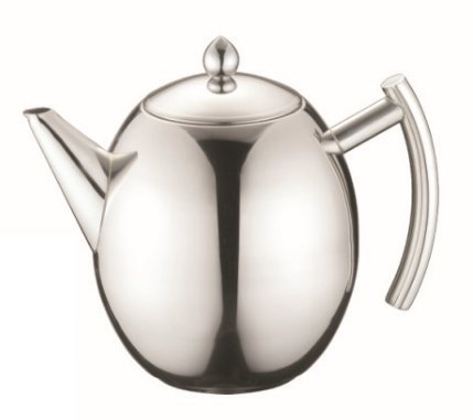 JustNile Premium 18/8 Polished Stainless Steel Tea Pot with Removable Infuser For Loose Leaf and Tea Bags, Dishwasher Safe and Heat Resistant, 50.72oz 1.5L