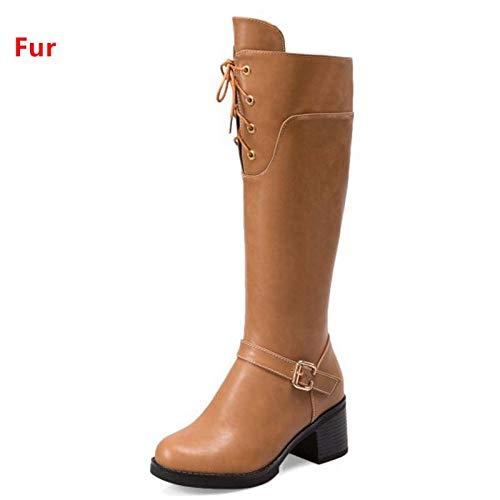 HAOLIEQUAN Größe 34-43 Warme Winterstiefel Für Frauen Starke Warme High Heel Kniehohe Stiefel Weibliche Cross Strap Warme Starke Schuhe 4f0a6e