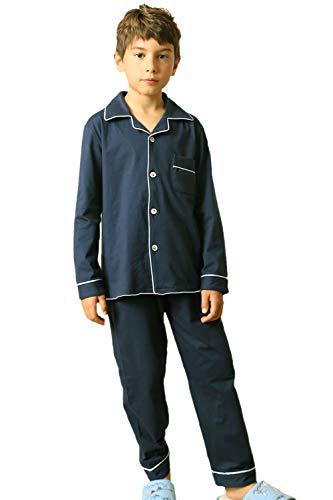 Wongstore Kids Cotton Long-Sleeve Pajama Set Sleepwear Loungewear Navy 150# -