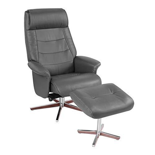 - HomeRoots Dark Gray Top Grain Leather/Vinyl Match Scandinavian Style Recline Chair & Ottoman
