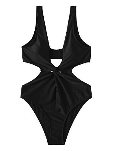 (SweatyRocks Women's Sexy Bathing Suit Solid Color Front Twist High Leg Cut Out One Piece Swimwear Black)