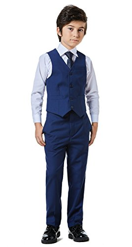Boys Classic Formal Dress Suits Set 5 Piece Slim Fit Dresswear Suit (8, Navy Blue 2) by WQI.HAN (Image #3)