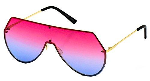 Elite Oversize Unisex Flat Top Aviator Retro Shield Mirrored Lens Rimless Sunglasses (Red Ombre, 5.8) (Pink-Blue, 5.8)