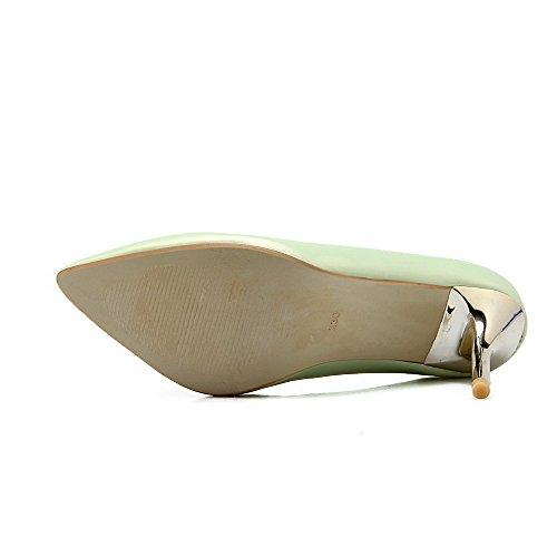 Amoonyfashion Womens Pu Solide Pull On Scarpe A Punta Chiuse Punte Stiletto Pompe-scarpe Verdi