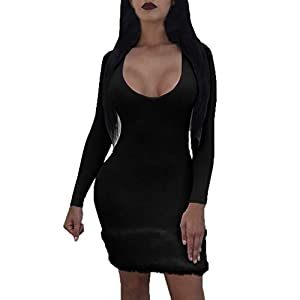MAWOLY Women's O-Neck Slim Solid Color Stitching Plush Long Sleeve Dress