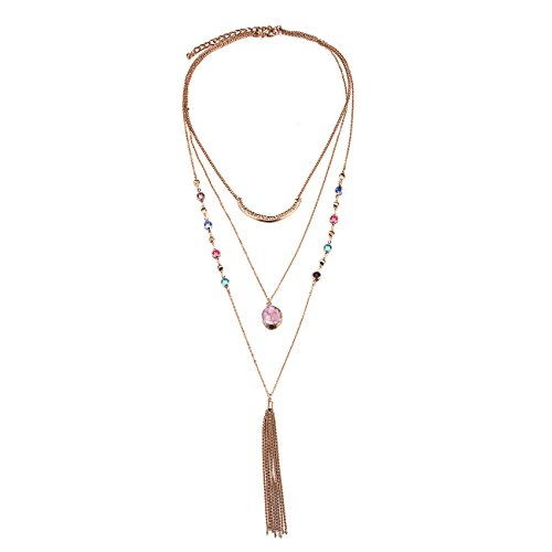 [eManco Bohemian Hippie Multi Layer Statement Gold Cable Tassel Long Pendant Necklace Valentine's Day] (Family Themed Fancy Dress Costumes)