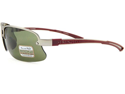 Serengeti Sunglasses For Men DESTARE 7689 Polarized PHD Drivers Photochromic Silver red Green lenses Semi Rimless Rectangle 68 mm Metal - Full Lens Semi