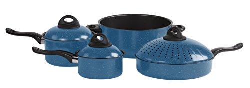 7 Pc Chef's Pasta Pot Non Stick Cookware Set - Kitchen Nonstick Pots And Pans Set w/ Locking Lid (Blue)