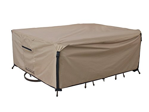 Rectangular/Oval Patio Heavy Duty Table Cover 600D Tough Canvas 100% Waterproof & UV-resistant Outdoor Dining Table Chair Set Cover Size 88L x 62W x 28H inch by ULT Cover