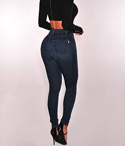 Denim Bouton Slim Black Jeans Fit Taille Haute Extensible Skinny OqOFYf