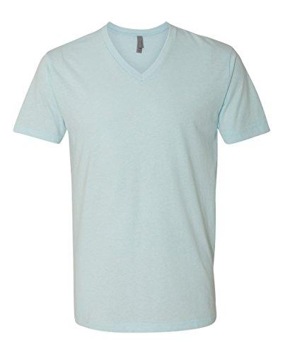 (Next Level Men's CVC Combed Baby Rib-Knit V-Neck T-Shirt, Ice Blue, Medium)