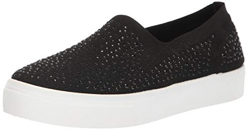 Skechers Women's Poppy-Studded Affair. Scattered Rhinestud Knit Slip on. Sneaker, Black, 6.5 M US