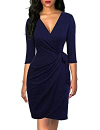 Berydress Women's 3/4 Sleeve V-Neck Casual Party Work Faux Black Wrap Dresses