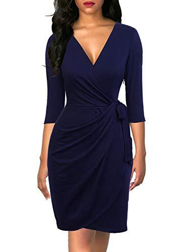(Berydress Women's Vintage 3/4 Sleeve Deep V-Neck Knee-Length Sheath Faux Wrap Dress (L, 6083-Navy) )