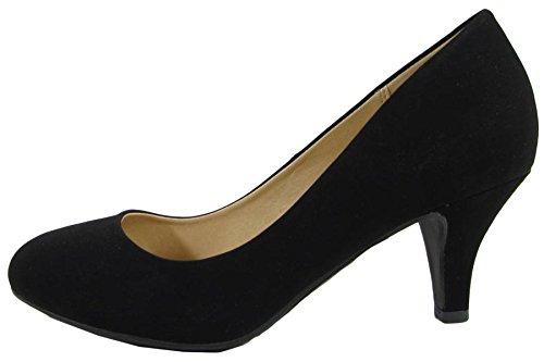 Soda Carlos NB Women Closed Pumps Classic Heel Comfort Black Toe Round City Classified rtHqwvr7