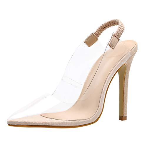 YEZIJIN Women Fashion Transparent Film Pointed Toe Thin Heel Sandals High Heel Shoes for Women Platform Wedding