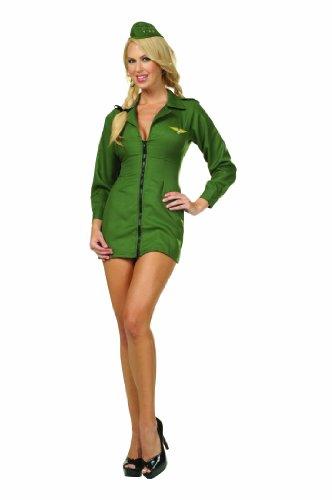 RG Sexy Naughty Top Gun Fighter Pilot Halloween Costume Green Dress Adult XXL Green