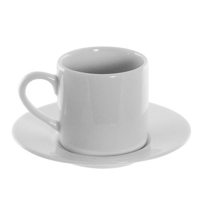 Ten Strawberry Street Classic White - 4 Oz Can Demi Cup And Saucer - Set Of 6