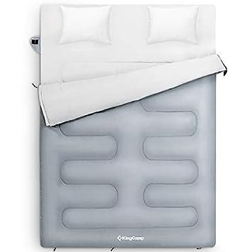 KingCamp Oxygen doble saco de dormir con almohadas 3 Season extra grande Queen saco de dormir para acampar senderismo viajan interior y exterior: Amazon.es: ...