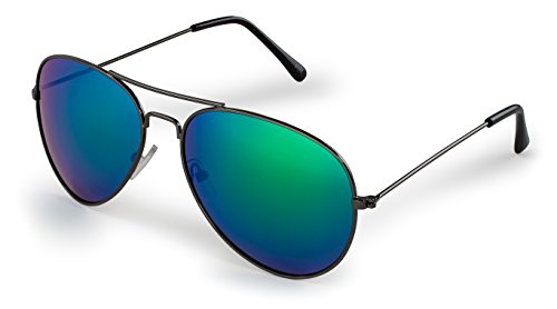 - Stylle Aviator Sunglasses, Gunmetal Frame With Green Lenses, 100% UV Protection