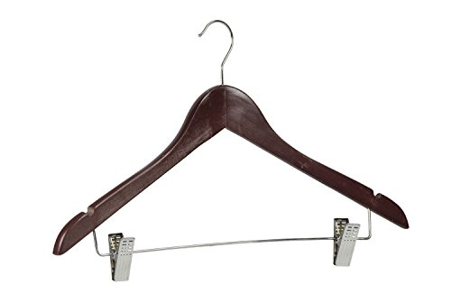 Sunbeam 72 Pack of Wood Hanger With Clips for Pants, Shirts, Dresses, Skirts, Tops and More (Cherry) by Home Basics