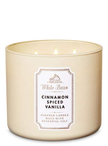 Bath & Body Works CINNAMON SPICED VANILLA 3-Wick Candle with essential oil 14.5 oz / 411 g