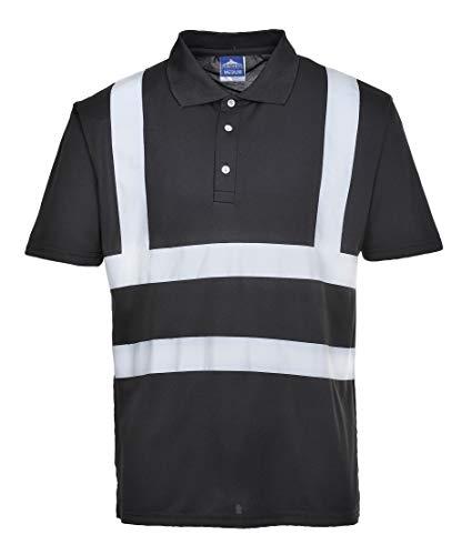Portwest Iona Polo Shirt Hi Vis Visibility Reflective Short Sleeve Work Wear Top, Black, XXL