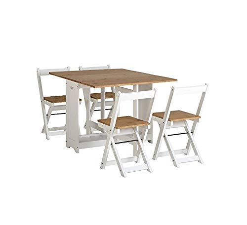 Drop Leaf Dining Table 4 Chairs Extendable Extending Wooden Furniture Small Space Saving Breakfast Pine Top Seat Folding Away Fold Out Kitchen Stools Seater Farmhouse Butterfly Vintage Room Set 5pc*****FREE DELIVERY***** George's Home