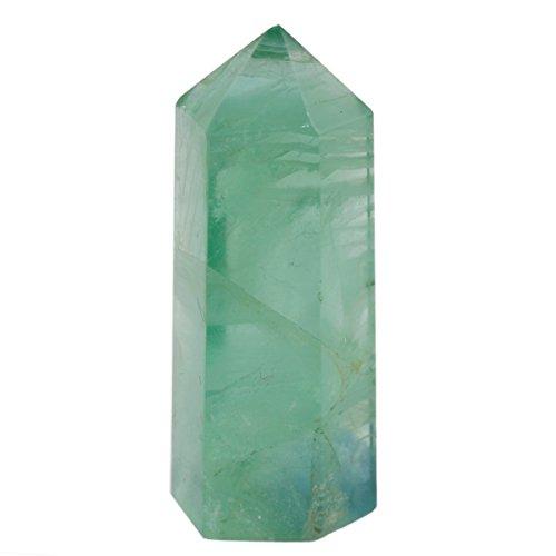 SUNYIK Natural Green Fluorite Figurine Sphere Gemstone Self Standing 6 Facet Single Point Healing Chakra