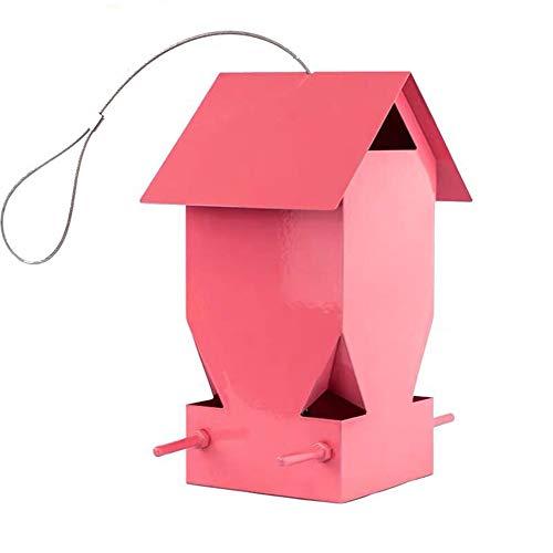 ZDJR Outdoor Bird Feeders, Barn Shaped Wild Bird Feeder, Hanging for Garden Yard Outside Decoration, Garden Decoration, Pink