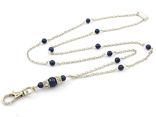 Brenda Elaine Jewelry | Real Silver Plate | Women's Fashion Lanyard Necklace for ID Badge Holders | 32 Inch Silver Chain with Night Blue Swarovski Pearls & Rear Magnetic Break Away Clasp (Magnetic Clasp Badge Holder)